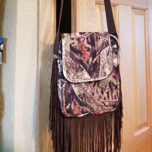 Handbags - Crossbody camouflage purse with fringe